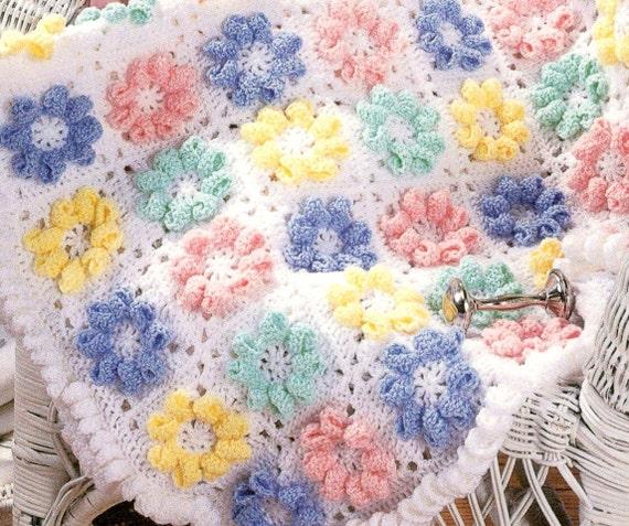 Vintage Crochet Pattern 3d Flower Daisy Granny Square Motif