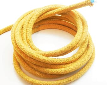 1 meter of braided cotton cord, caramel, 6 mm