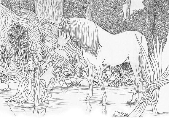 legende 1985 prinses lilly en unicorn volwassen kleurplaten