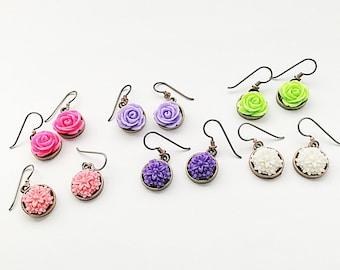 Resin Flower Copper Earrings - White Rose Purple Dahlia - Lime Green Hot Pink Lavendar Rosette