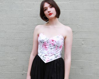 Vintage Rose Floral Bustier / Made in Italy / Boned Bodice / XS/S