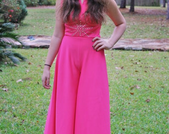 70's Hot Pink Flared Leg Jumpsuit