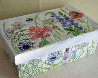 Farmhouse Painted Furniture Box Hand Painted Watercolor Botanical Garden Flowers Custom Made Keepsake Lift-off Lid