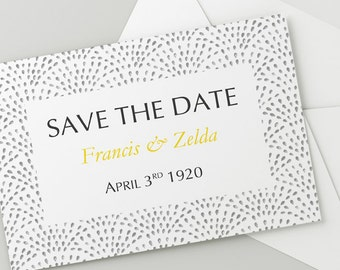 Printable Wedding Save The Date Download 'Fountain' // DIY TEMPLATE// Word Mac or PC // 5 x 7 // Change artwork colour // Luxury Design