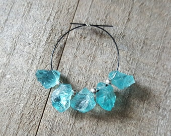 Small Rough Hammered Caribbean Blue Apatite Nugget Freeform Beads, 8mm, 11mm