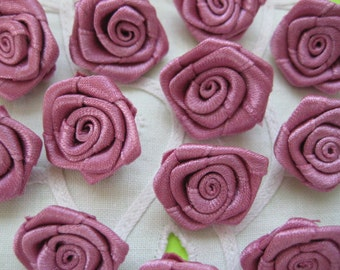 7/8 inch Mauve Flowers Rosette Appliques for Sewing, Flower Girl, Crafting, Scrapbooking, Embellishment, Doll Clothing, 21 mm, 30 pcs