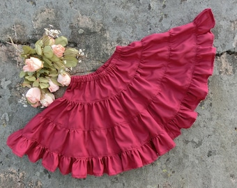 Wine red pettiskirt.Cotton petticoat.Girls wine red skirt,toddler twirly skirt.Girls wine red petticoat.Cotton underskirt