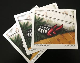 Ruby Shoes Illustration | Ruby Slippers Wicked Witch Original Drawing | Wizard of Oz Art | Postcard Style Digital Print