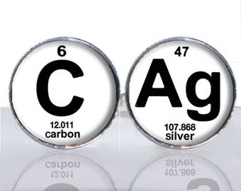 Periodic Table Science CAg Carbon Silver Round Glass Tile Cuff Links - CIR180