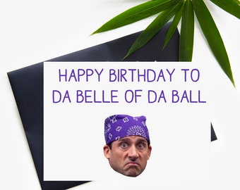 The Office Prison Mike Funny Birthday Card, The Office Michael Scott Prison Mike Printed Printable Happy Birthday Card