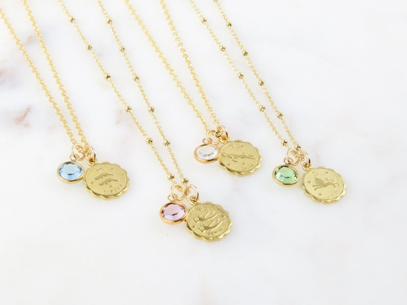 Zodiac and Birthstone Necklace