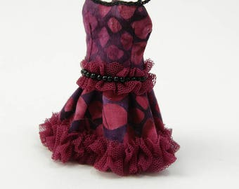 Middie Blythe dress and petticoat, dark red and black, cotton with tulle and beads, perfect fit