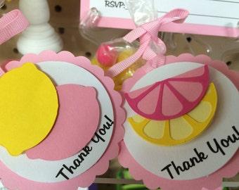 Pink Lemonade Party Favor Tags, Lemonade Stand Party Favor Tags, Lemonade Themed Party Decor (set of 12)
