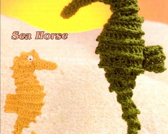 Vintage Crochet Sea Horse Pattern 2 Sizes PDF Instant Digital Download Crochet Seahorse Family Amigurumi Sea Animal Plush Toy Doll