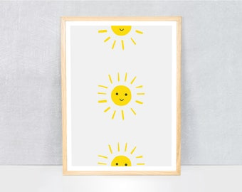suns print / kids art print / kids wall art / cute illustration / bright colours / kids poster print / fruit