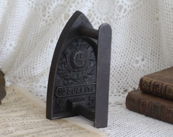 Vintage French Flat Iron - Sad Iron - Bookend - Doorstop - Number 5 - CA