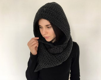 Hooded Scarf. Long Scarf. Wool Scarf. Chunky Scarf. Scoodie Scarf. Wool charcoal Scarf