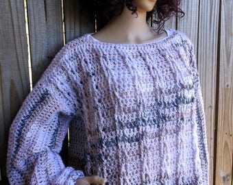 Hand Crochet Cable Sweater, Crochet Cable Sweater, Long Sleeve, Oversize Sweater, Chunky Sweater, Plus Size Crochet Sweater