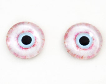 16mm Glass Eyes Bloodshot Zombie Halloween Cabochons - Evil Eyes for Doll or Jewelry Making - Set of 2