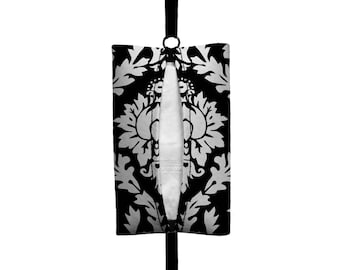 Auto Sneeze - Damask - Visor Tissue Case/Cozy - Car Accessory Automobile Black White