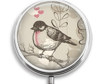 Pill Case Bird With Hearts Pink Beige Pill Box Case Trinket Box Vitamin Holder Medicine Box  Mint Tin Gifts For Her