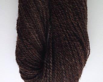 057 Handspun Natural Chocolate  Romney Yarn