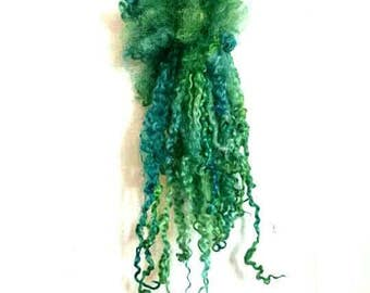 Kelpie - extra long dyed Teeswater locks for lockspinning,  tailspinning, dolls hair,  felt crafting,  reroot,  wool