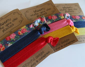 Bloom Where You Are Planted Soft Hair Ties - Navy Floral - No Crease Hair Tie - Party Favors - Soft Hair Tie - Workout Hair Tie