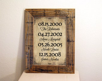 Important Dates Sign in Beige & Black. Custom Family Name Sign. Personalized Rustic Signs. Rustic Frame Sign. Family Dates Sign. 12x16