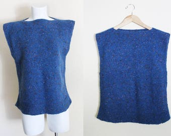 Vintage Hand Knit Sweater Tunic Top / Vintage Sweater Top / Blue Speckled Hand Knit Vintage Short Sleeved Sweater / Size S / M