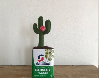 Mini Green Cactus with Pink Flower in Vintage Schilling Parsley Tin // Cute Home Decor Gift for Her //Christmas Holiday // Fake Indoor Plant