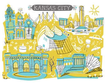 Wall Art-Kansas City-Art Print-3 Color-City Illustrations-10x8-You Choose Color-Custom City Illustration