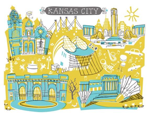Wall Art-Kansas City-Art Print-3 Color-City