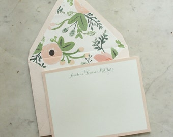 personalized women's / baby girl / little girl notecards - blush pink and sage wildflowers