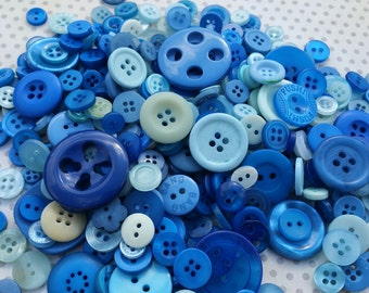 Blue Buttons - Sewing Bulk Button - Navy Blue Baby Blue - 100 Buttons - Sodalite Blues