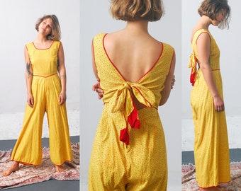 1930s Beach Pajamas / 30s Cotton Tie Back Pajamas / Deco Beachwear