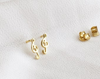 Treble Clef Studs, Treble Clef Ear Studs, Gold Studs, Music Lovers, Music Note Earrings, Treble Clef Earrings, Stud Earrings,Graduation Gift