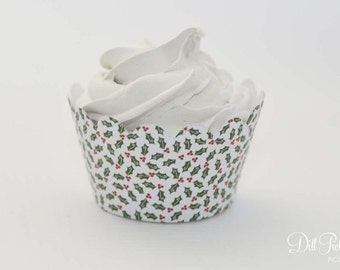 MINI Christmas Holly Cupcake Wrappers - Mini Cupcake Wraps Set of 24