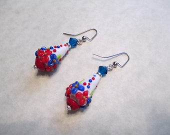 Patriotic Red, White and Blue Cone Lampwork Pierced Earrings