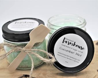 Cucumber Mint Sugar Scrub - Cucumber Mint - Sugar Scrub - Mason Jar Sugar Scrub - Farmhouse - Farmhouse Style - Bath Scrub - Body Scrub
