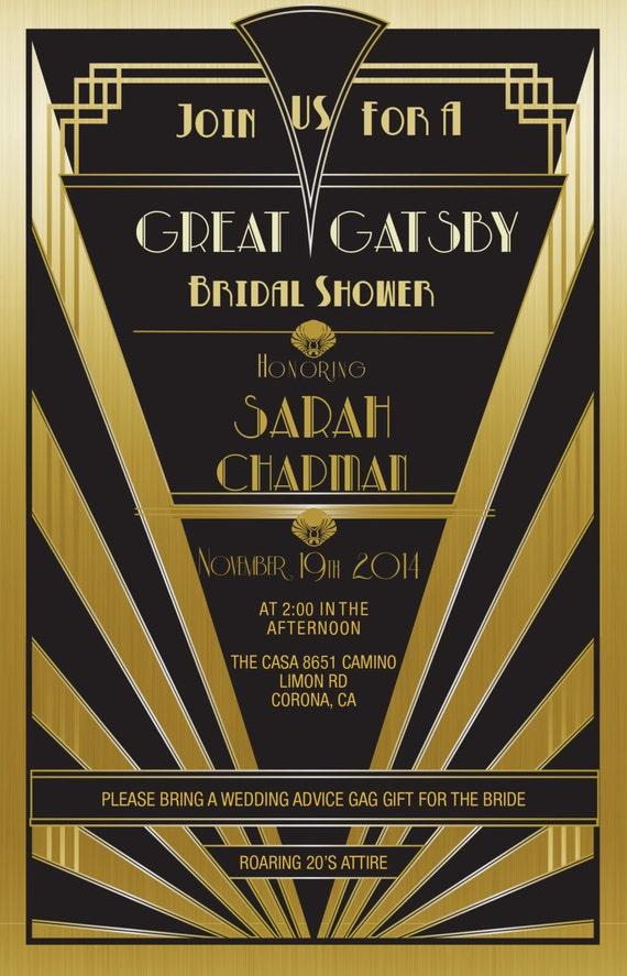 Items similar to Great Gatsby Invitation Gold - Set of 25 | Bridal ...