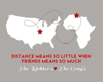 Gift for Family Friends, Custom Art Print , Long Distance Friendship, Quote about Friends, Stars, Military Friends, Foreign Exchange