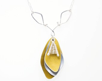 Yellow and Grey Anodized Aluminum Necklace, Sunbeam Shadows Collection