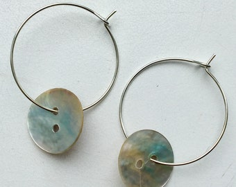 Fun button hoop earrings (gold or silver)