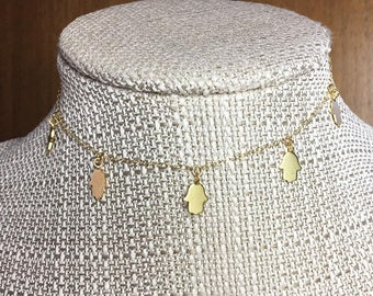 HAMSA HAND Choker * Necklace * 14k Gold Filled Chain * Dangling HANDS * Delicate * Dainty *  Minimal * Simple * Fun
