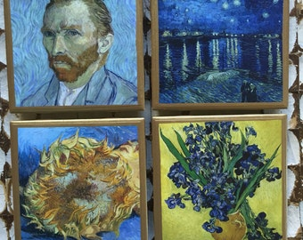 COASTERS!!! Van Gogh coasters with with gold trim