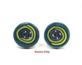 2 sewing buttons. 2 buttons round fantasy 3 cm: teal and lime green.