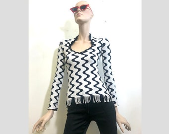 Striped Psychedelic Top with Tassels 90s vintage
