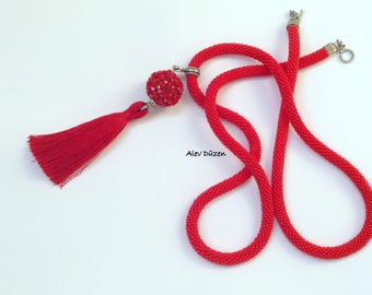 Red Tassel Handmade Bead Crochet Necklace - Red Beaded Necklace - Handmade Beadwork Necklace - Bead crochet Necklace