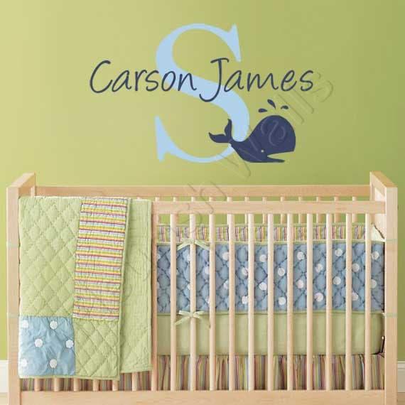 Baby Boy Nursery Name Decal Initial Monogram Wall Decor